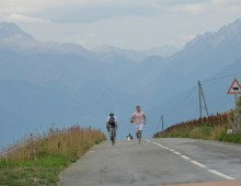 Approaching the summit of the 22km Col de le Madeleine at 2000m. Suffering terribly, my nephew Sean running next to me encouraging me to keep fighting