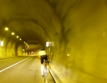 Climbing through a tunnel from Bourg St Maurice to Val d'Isere at 10pm