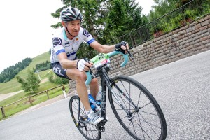 Fighting the gradient and the pain up the 22km Monte Bondone to the finish line for my biggest victory ever on a bike! 20 July 2014.
