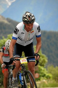 3km from the summit of Alpe d'Huez and the finish of the La Marmotte after 7hr 51min in the saddle. 5 July 2014.